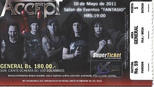 Accept - La Paz, Bolivia (May 2011)