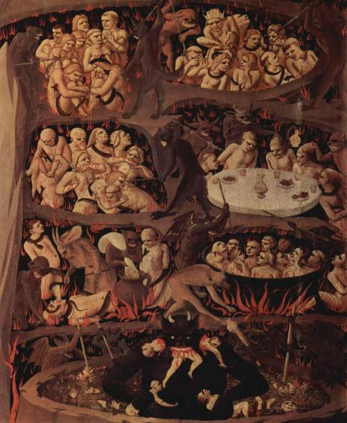 Fra Angelico's 15th century vision of Hell (from wikimedia.org).  Again, not really reflecting what's in my mind.