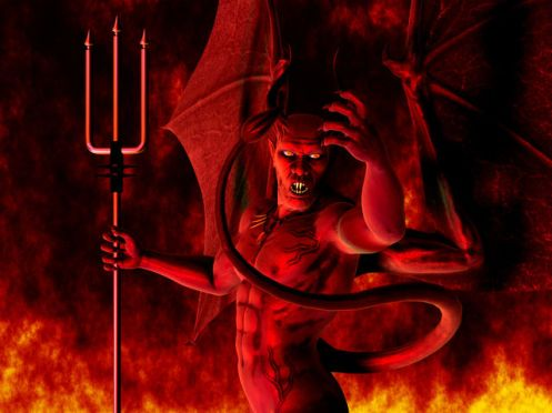 An artist's depiction of Satan (from leftbehind.wikia.com).  Not really what I'm trying to convey here ...