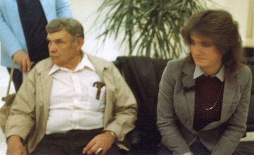 A sadly out of focus photo of Kris and my Grandpa seeing me off at the airport in November 1983; my only photo of Kris.