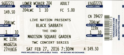 Sabbath at MSG